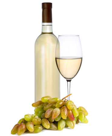 Bottle and a glass of white wine with grapes on a white background