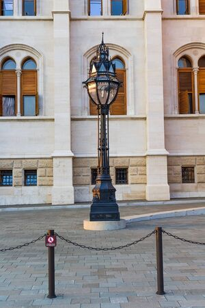 Old street lamp in Budapest near the Hungarian Parliament