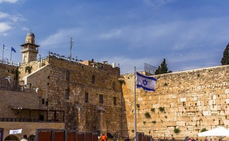 Western wall. Israel flag on wailing wall background Israel Jerusalem Stock Photo