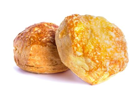 attractive airy puff pastry buns baked under cheese
