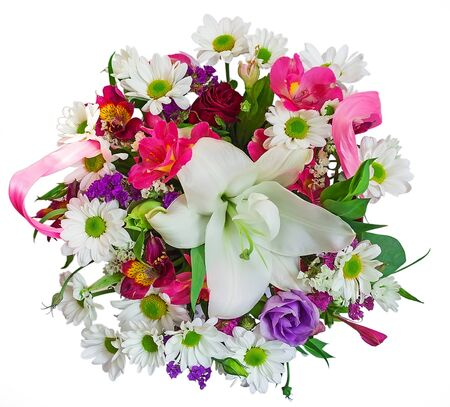A pleasant and harmonious composition of a bouquet of flowers, consisting of shoots with blooming flowers