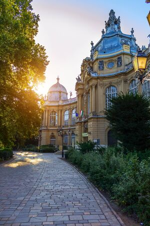Morning in Budapest at the castle territory in the city park