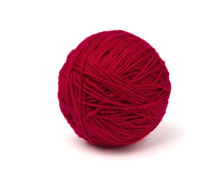 gomitolo di lana su sfondo bianco Archivio Fotografico