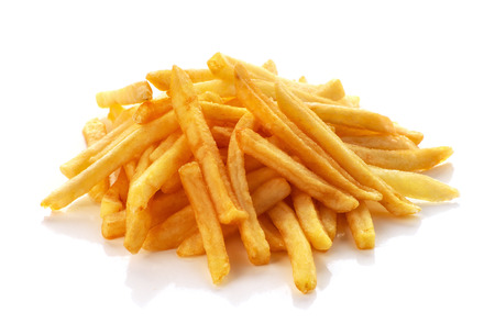 pile of french fries on a white background 版權商用圖片