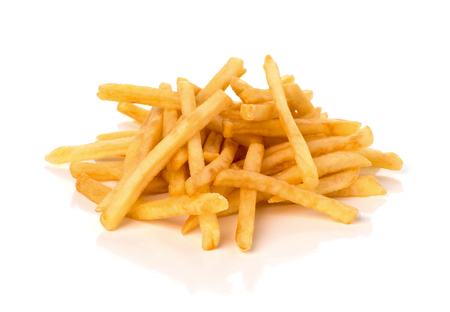 stapel frietjes op een witte achtergrond Stockfoto