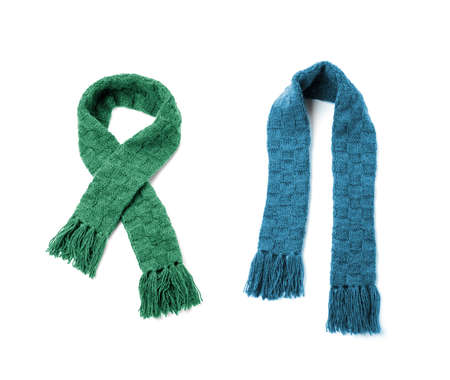 Green and blue warm scarf on a white background