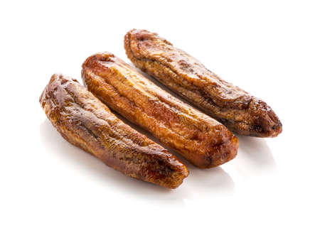 Dried bananas on white background