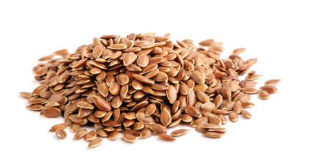 Flax seed on white background. Foto de archivo