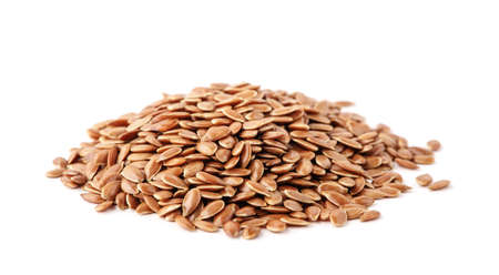 Flax seed on white background. 免版税图像