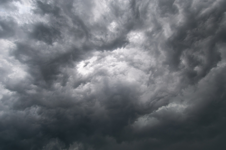 Black cumulus clouds before the beginning of a strong storm Banco de Imagens