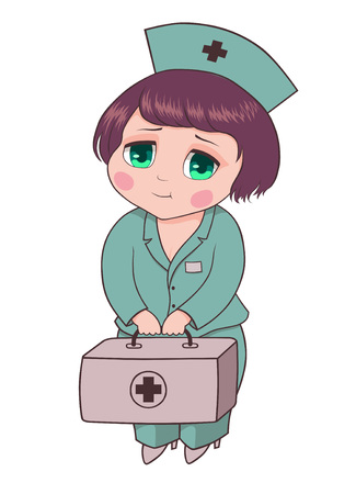 Illustration of a female Doctor, drawn in graphic programs, can be used as a logo