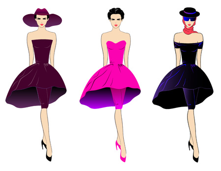 Vector illustration of three girls in different colored dresses.