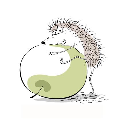 Animal trying to pick-up an apple illustration. Ilustração