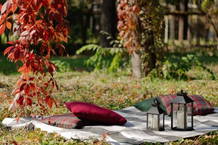 Autumn warm days. Indian summer. Picnic in the garden - blanket and pillows of gray, burgundy and green color on the background of autumn leaves. Selective focus. Zdjęcie Seryjne