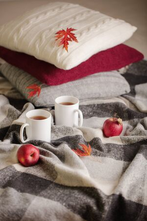 Home comfort and warmth in the autumn time. Gray plaid, knitted pillows, tea and autumn red maple leaves. Selective focus.
