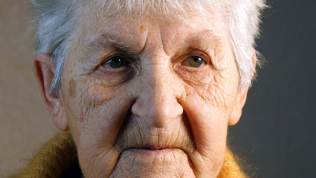 Portrait of an old woman. Close-up Stock Photo