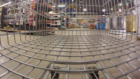 Very fast speed of supermarket trolley Stock Photo