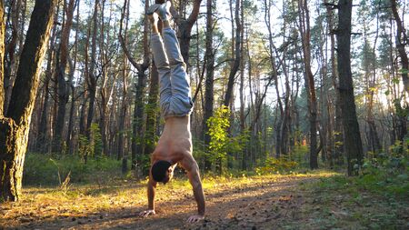 Muscular man doing handstand at beautiful sunny forest. Strong gymnast training in scenic environment. Athlete showing performance outdoor. Concept of healthy and active lifestyle. Slow mo Close up