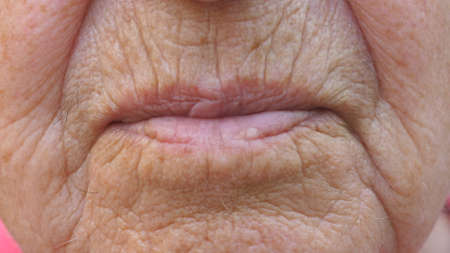 Close up lips of mature grandmother. Mouth of elder grandma sends air kiss into camera. Senior woman with wrinkled skin does kissing gesture. Slow motion Imagens