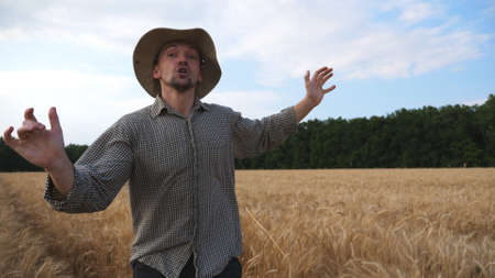 Annoyed farmer running to camera through the wheat field and trying to catch somebody. Angry agronomist jogging among cereal meadow and falling down during tries to kick out someone from plantation Imagens