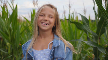 Happy joyful girl looking into camera and taking off her straw hat against the blurred background of corn field. Portrait of beautiful small child playing with her long blonde hair in the meadow. Imagens