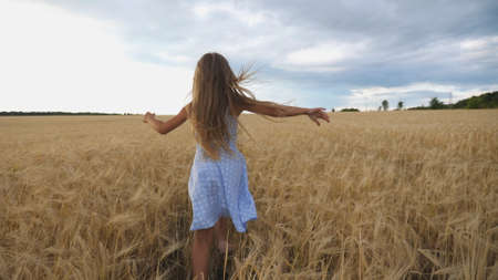 Follow to cute happy child in dress running through wheat field, turning to camera and smiling. Beautiful girl with long blonde hair jogging over the meadow of barley at overcast day. Slow motion
