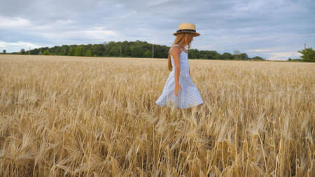Close up of beautiful small girl with long blonde hair walking through wheat field. Cute child in straw hat touching golden ears of crop. Little kid in dress going over the meadow of barley Imagens - 154259616