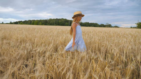 Close up of beautiful small girl with long blonde hair walking through wheat field. Cute child in straw hat touching golden ears of crop. Little kid in dress going over the meadow of barley Imagens - 154259624