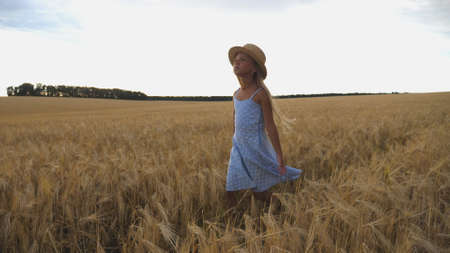 Close up of beautiful small girl with long blonde hair walking through wheat field. Cute child in straw hat touching golden ears of crop. Little kid in dress going over the meadow of barley Imagens - 154259645
