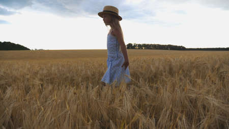 Close up of beautiful small girl with long blonde hair walking through wheat field. Cute child in straw hat touching golden ears of crop. Little kid in dress going over the meadow of barley Imagens - 157499407