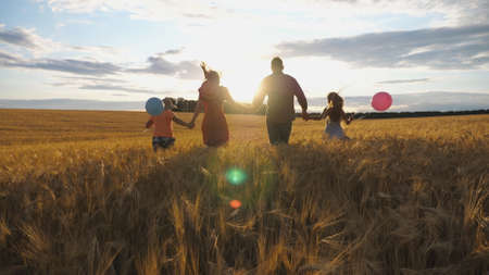 Happy family with two children holding hands of each other and running through wheat field at sunset. Young couple of parents with kids jogging among barley meadow and enjoying nature together. Imagens - 157499444