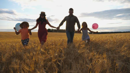 Young mother and father with kids holding hands of each other and jogging among barley meadow at sunset. Happy family with two children running through wheat field and enjoying nature together. Imagens - 157508602