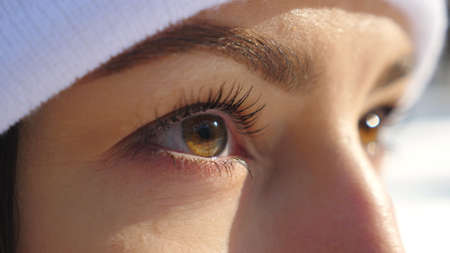 Detail view of woman brown eyes looking around. Attractive girl standing in winter forest and admiring beautiful view. Close up of female face. Slow motion