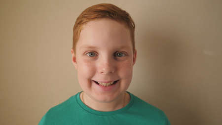 Little smiling red-haired boy looking into camera indoor. Portrait of happy male ginger child with freckles inside. Close up emotions of small kid with glad expression on his face Imagens