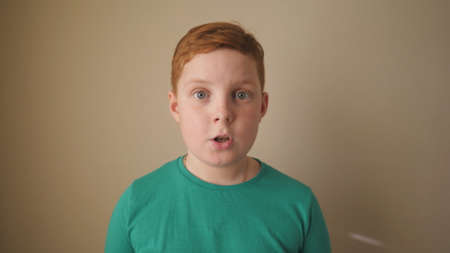 Little red-haired boy looking into camera with wow expression indoor. Portrait of ginger child with freckles showing surprise and amazement. Close up shocked male face of small kid inside. Slow motion Imagens - 158934821