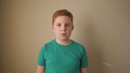 Little red-haired boy looking into camera with wow expression indoor. Portrait of ginger child with freckles showing surprise and amazement. Close up shocked male face of small kid inside. Slow motion