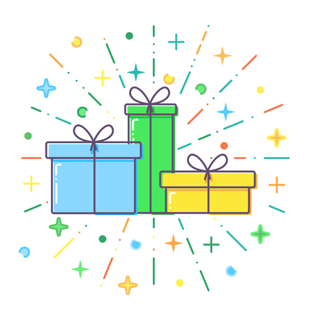 Flat blue, green and yellow Gift boxes vector. 일러스트