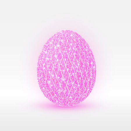 Easter egg designed with shiny pink diamonds, vector illustration isolated on white background.