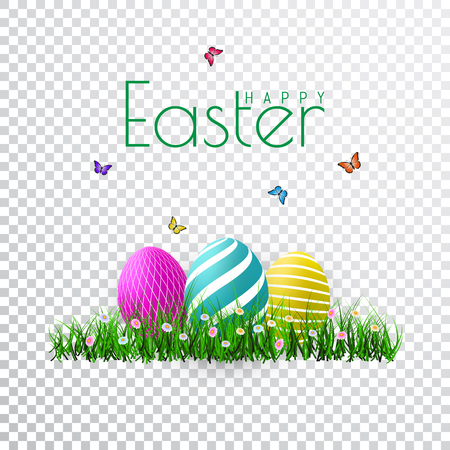 Vector Easter eggs with grass, butterfly and flowers isolated on a transparent background. Illustration
