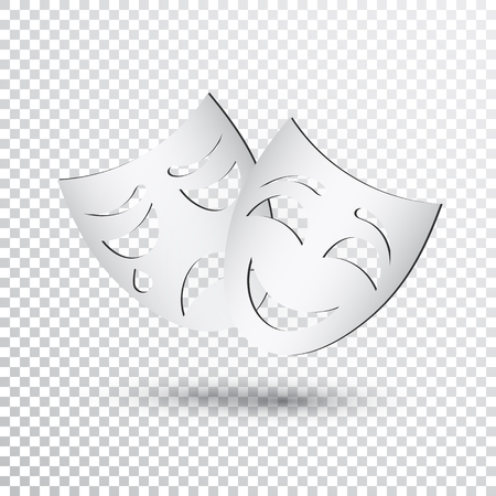 Happy and sad theater masks, simple icon Vector illustration.