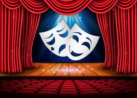 Happy and sad theater masks, Theatrical scene with red curtains. Stock vector illustration. Illustration