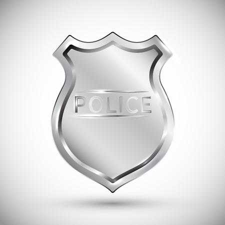 Ilustración de vector de placa de policía aislada sobre fondo blanco EPS10. Objetos transparentes utilizados para dibujar sombras y luces.
