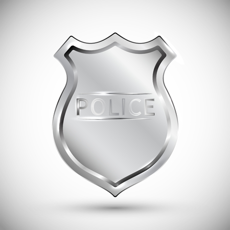 police badge vector illustration isolated on white background EPS10. Transparent objects used for shadows and lights drawing.