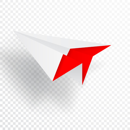 Illustration of red origami paper airplane on white background. Çizim