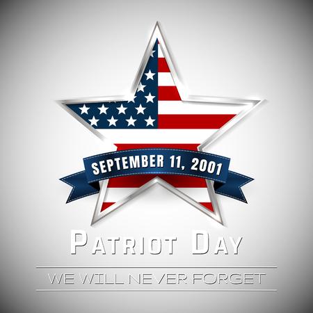 Patriot Day 9.11 digital sign with star. vector illustration. Vettoriali