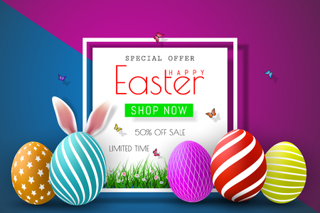 Easter sale illustration with color painted egg and typography element on abstract background. Vector holiday design template for coupon, banner, voucher or promotional poster.