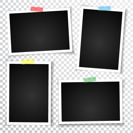 Retro photo frame with shadows. Vector illustration. Çizim