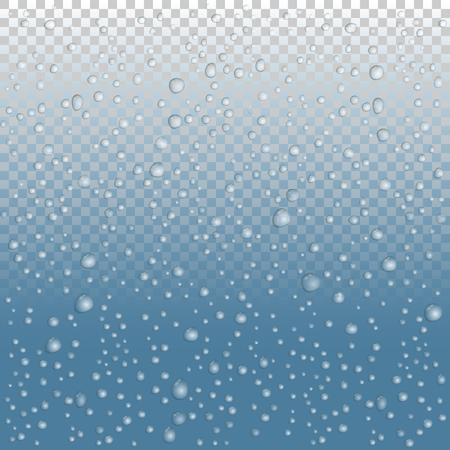 Rain drops on blue background.