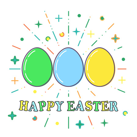 Happy Easter, Flat blue, green and yellow easter eggs vector.