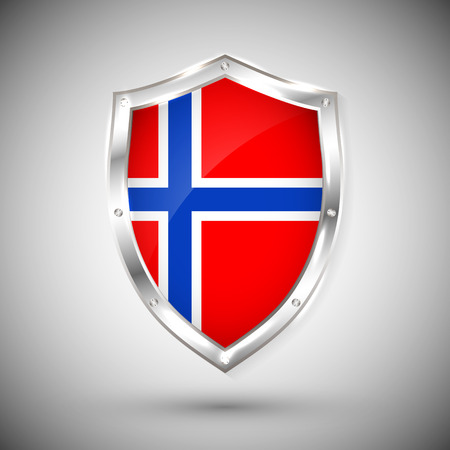 Norway flag on metal shiny shield vector illustration. Collection of flags on shield against white background. Abstract isolated object.
